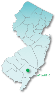 Map of New Jersey highlighting Atlantic County