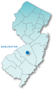 Map of New Jersey highlighting Burlington County