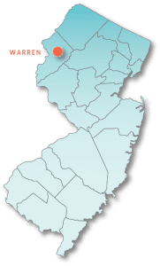 Map of New Jersey highlighting Warren County