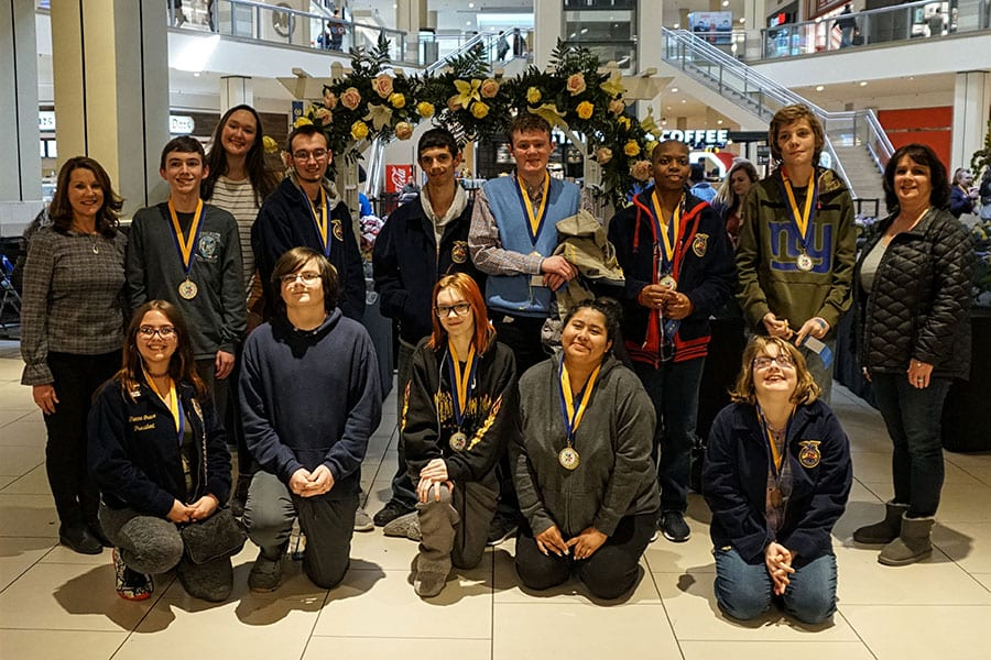 Bankbridge Development Center students who participate in Horticulture show off 13 1st Place and three 2nd Place medals from the 39th Annual New Jersey Southern Regional Student Flower Show at the Deptford Mall sponsored by the Camden Tech-East FFA Chapter of Camden County Technical Schools.