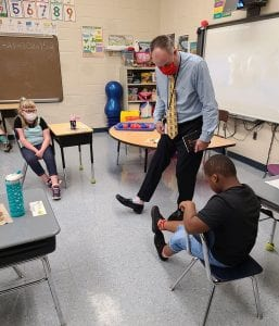 Dr. Christopher Nagy visited with students this year on Crazy Sock Day