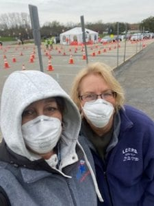 Bergen County Special Services School District nurses Cindy Bischoff and Karen Fritzman pose for a photo in PPE while working on the frontlines of the pandemic through the Medical Reserve Corp.