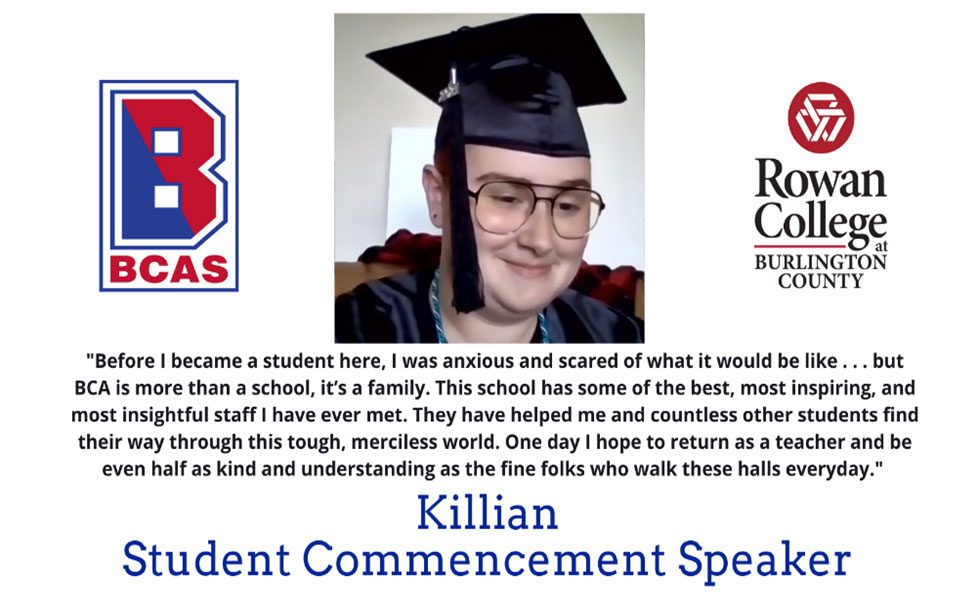 A slide shows BCSSSD graduate, Killian, in a cap and gown along with the quote he gave during the commencement ceremony.